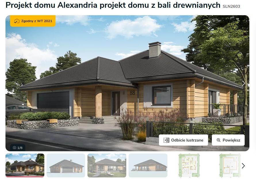 Zdjęcie pochodzi ze strony: https://www.extradom.pl/projekt-domu-alexandria-projekt-domu-z-bali-drewnianych-SLN2603