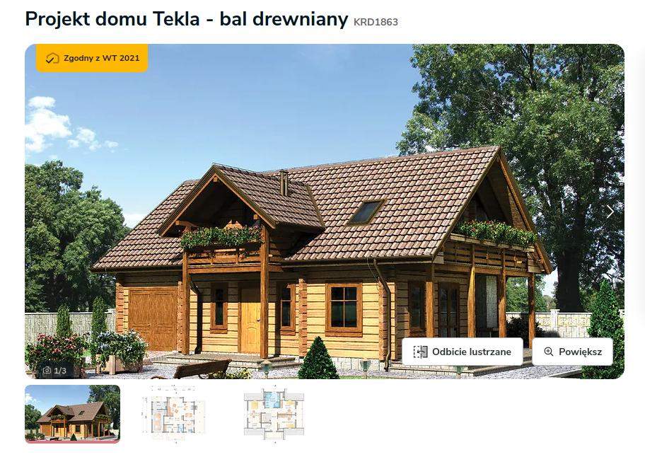 Domy drewniane z drewna - Zdjęcie pochodzi ze strony: https://www.extradom.pl/projekt-domu-tekla-bal-drewniany-KRD1863