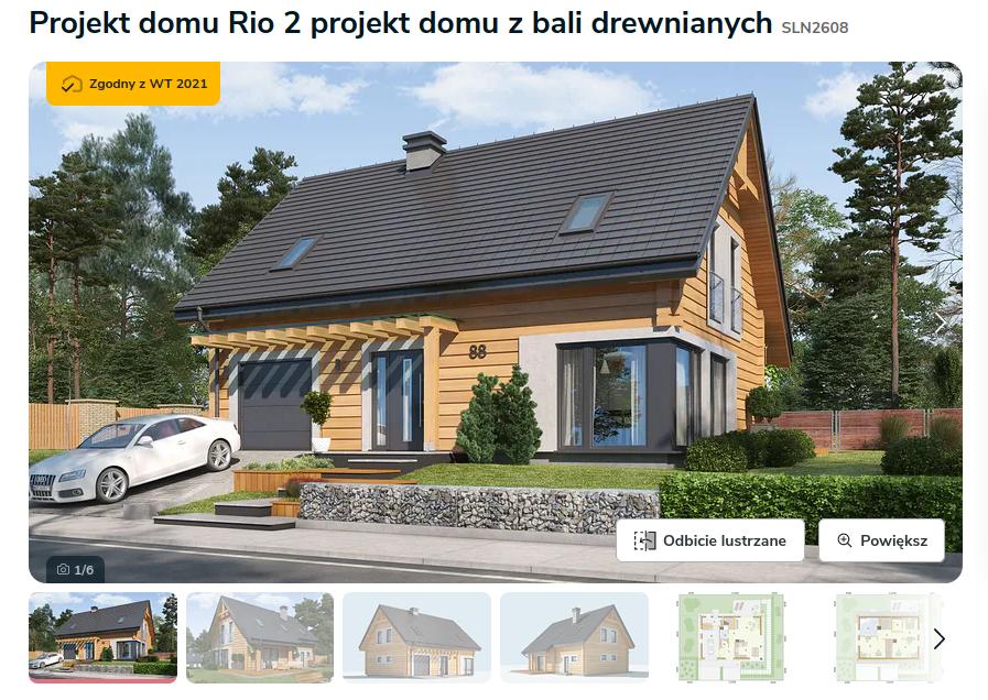Zdjęcie pochodzi ze strony: https://www.extradom.pl/projekt-domu-rio-2-projekt-domu-z-bali-drewnianych-SLN2608