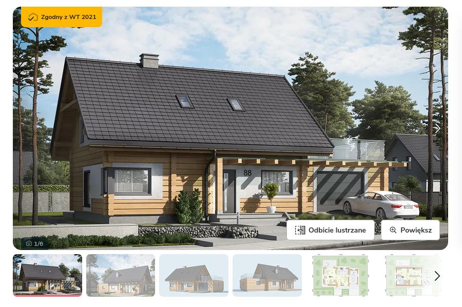Zdjęcie pochodzi ze strony: https://www.extradom.pl/projekt-domu-trypolis-3-projekt-domu-z-bali-drewnianych-SLN2607