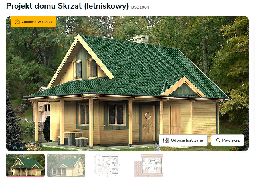 Projekt pochodzi ze strony: https://www.extradom.pl/projekt-domu-letniskowego-skrzat-letniskowy-BSB1064
