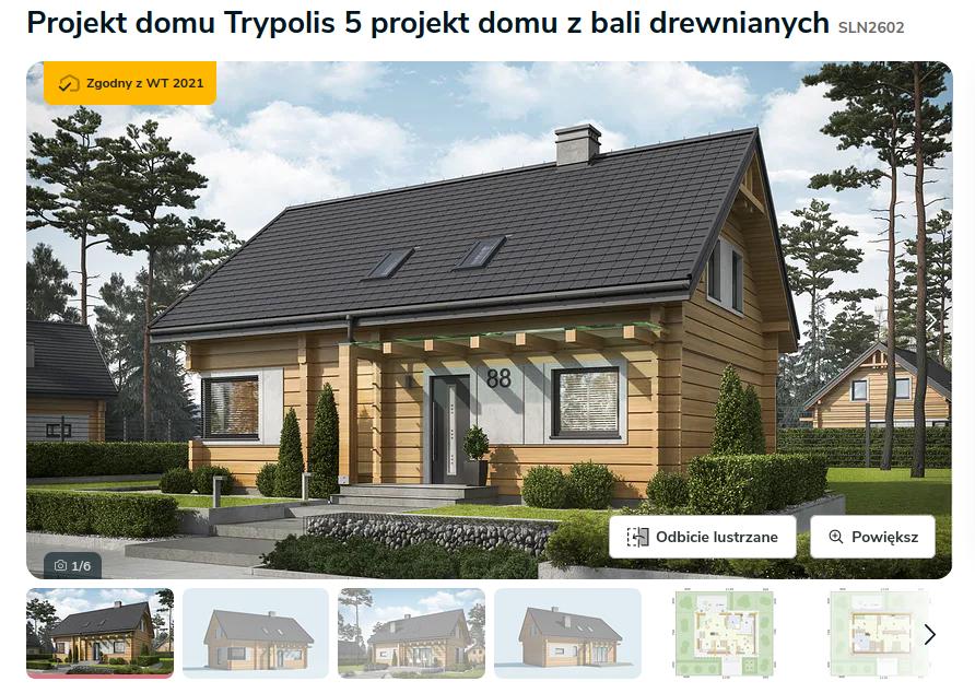 Zdjęcie pochodzi ze strony: https://www.extradom.pl/projekt-domu-trypolis-5-projekt-domu-z-bali-drewnianych-SLN2602